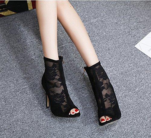 Mund Einem Stiefel Schwarze Stiefel Frühjahr Schuhe Fische Hochhackige Stiefel 8 Gaze Die Maschen Netze Stiefel Aus Einheitliche Im KHSKX Feinen 5Cm Thirty eight Schuhe Mit Weibliche xqz0BXqpw