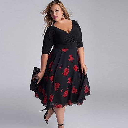 Vestidos Mujer Tallas Grandes,Modaworld ❤ Vestido de Fiesta Largo de Noche Floral para Mujer Talla Grande Vestidos Elegantes de Playa Boho señoras XL ...