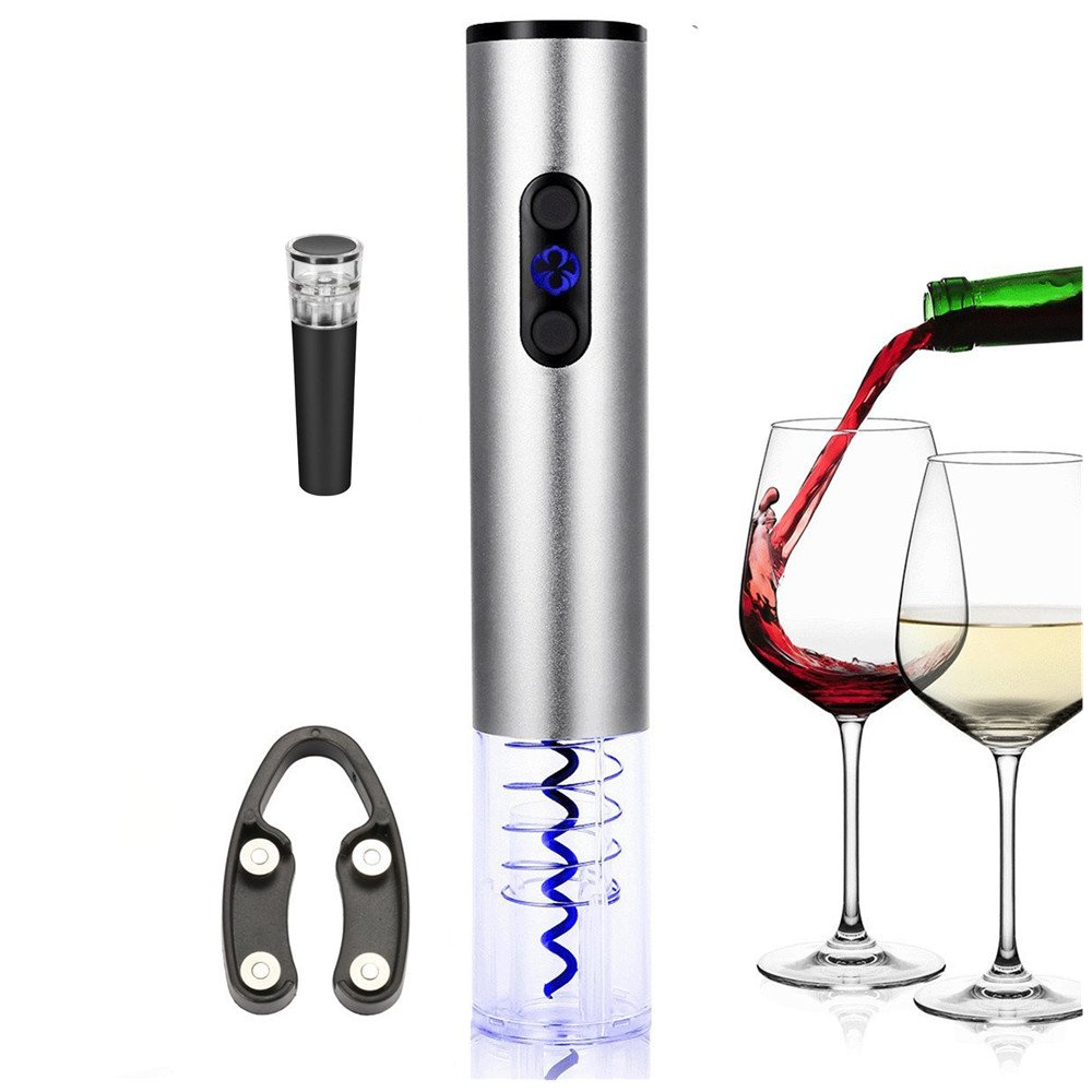 Electric Wine Opener with Foil Cutter and Vacuum Wine Stopper Stainless Steel Rechargeable Automatic Wine Bottle Opener