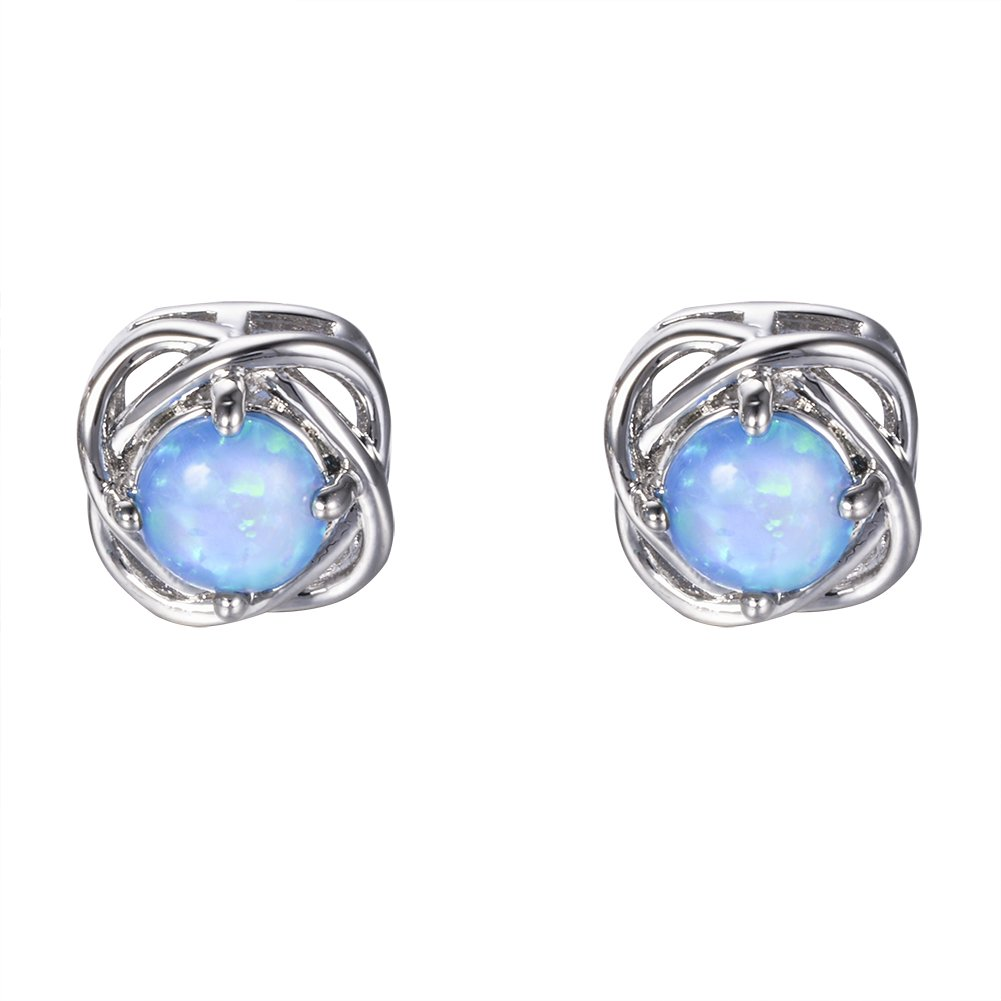 e82c0fe13 Amazon.com: Adeser Jewelry Blue Opal Christmas Best Friend Engagement  Wedding Girls Studs Earrings: Jewelry