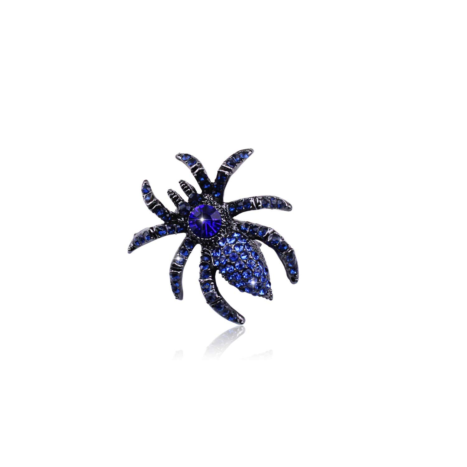 Silver Alloy Coat Brooches For Women Men Vintage Blue Austrian Crystal Brooches