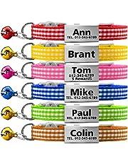 TagME Collares de Gato Personalizados con Placa de Nombre/Collares de Perro pequeños con Nombre, número de teléfono, número de Microchip/Patrón de Cuadrado/Rojo