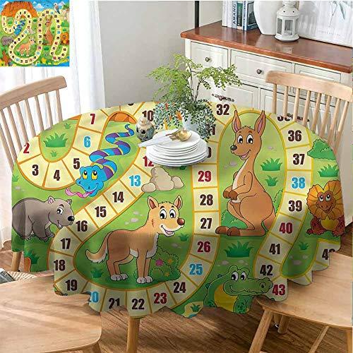 Elxmzwlob Round Outdoor Tablecloth,Board Game,Premium Round Tablecloth,Australia Fun Wildlife-(35