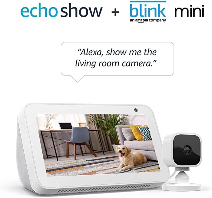 Echo Show 5 Sandstone with Blink Mini Indoor Smart Security Camera, 1080 HD with Motion Detection