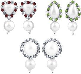 Sukkhi Copper Drop Earrings for Women (White) (CB70121RHDPD450)