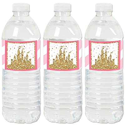 Little Princess Crown - Pink and Gold Princess Baby Shower or Birthday Party Water Bottle Sticker Labels - Set of 20: Toys & Games