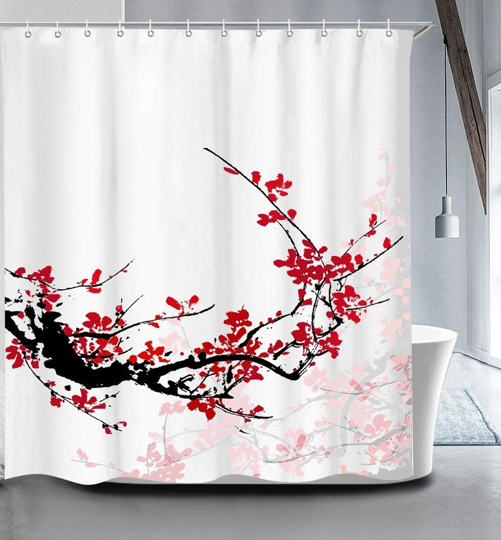 True Holiday Shower Curtain Fabric Polyester Waterproof Mildew Resistant Antibacterial Shower Curtain Liner with 12 Curtain Hooks 70.8\