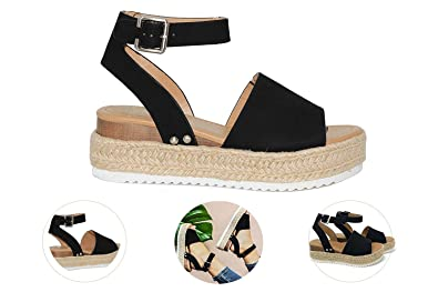 8a40d25cdec Gnpolo Womens Black Wedge Platform Sandals with Ankle Strap Open Toe  Flatform Strappy Summer Shoes