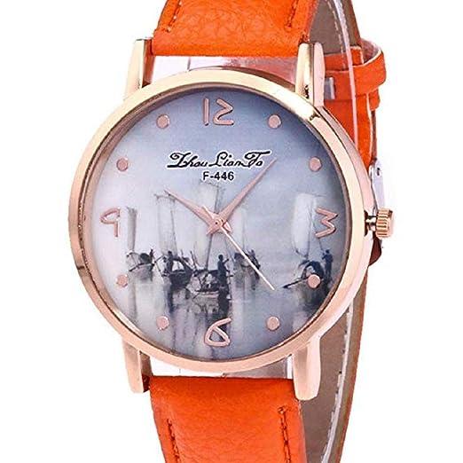 Scpink Relojes de Cuarzo para Mujeres, Liquidación analógica a la Venta Patrón de Nave Relojes de Pulsera Relojes para Mujeres Relojes de Cuero para Mujeres ...