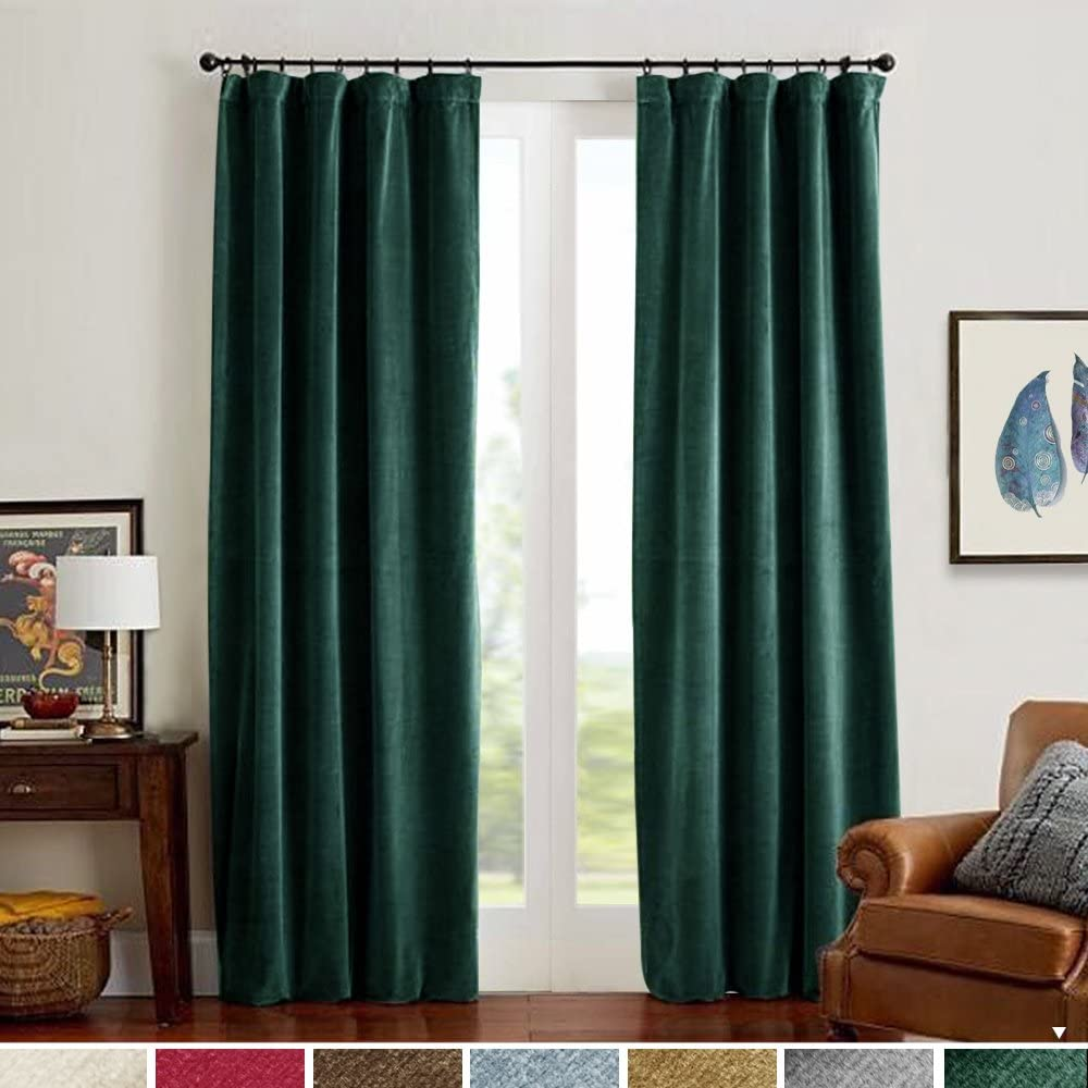 Amazon Com Velvet Curtains Green Panels Temperature Control Room Darkening Super Soft Luxury Drapes Home Decor For Bedroom Curtain Rod Pocket Light Blocking Privacy Protect For Party Dining Room 2 Panels 84 Inch Kitchen