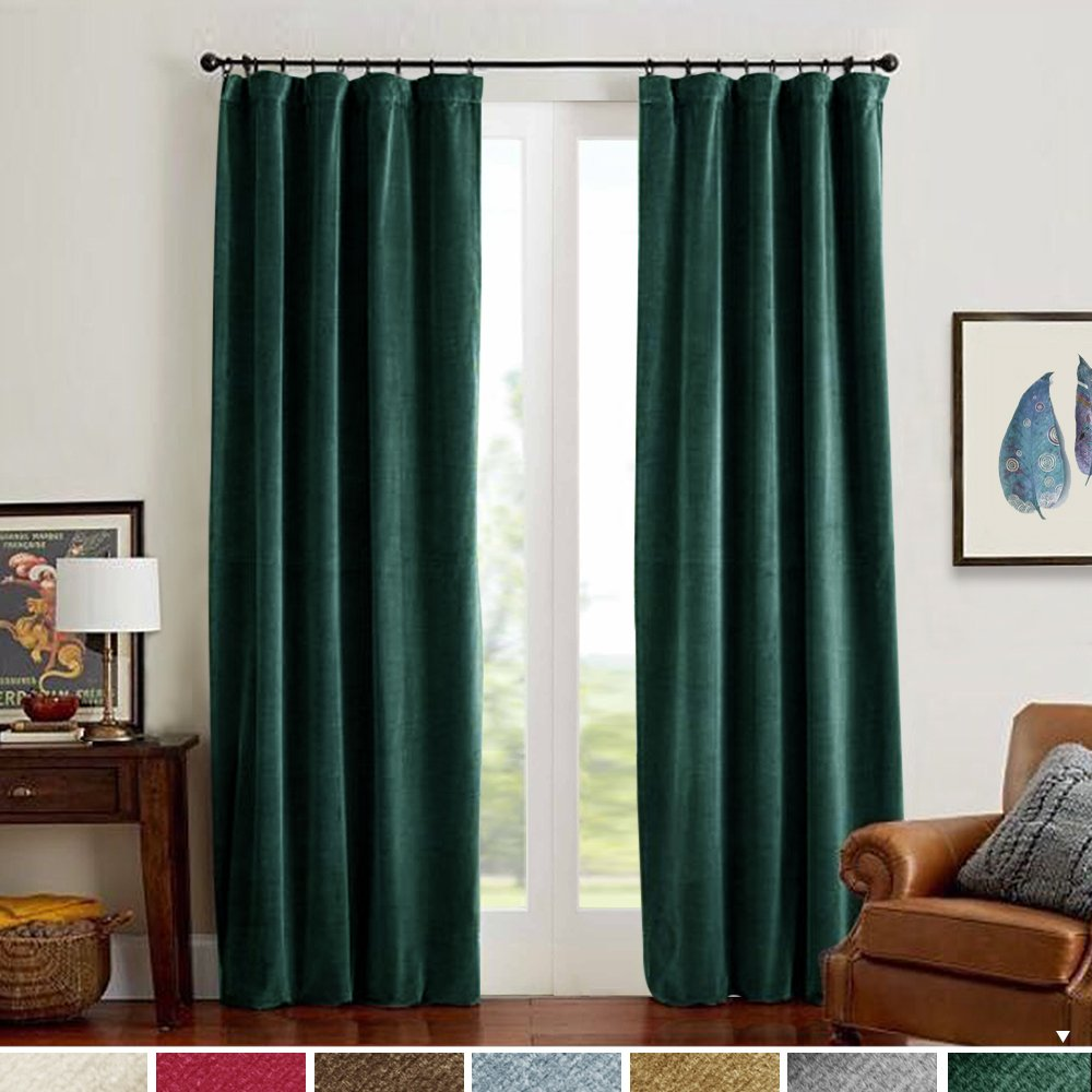 Velvet Curtain Panels Green Room Darkening Window Super Soft Luxury Drapes for Bedroom Thermal Insulated Rod Pocket Curtain for Living Room 2 Panels 108 Inch