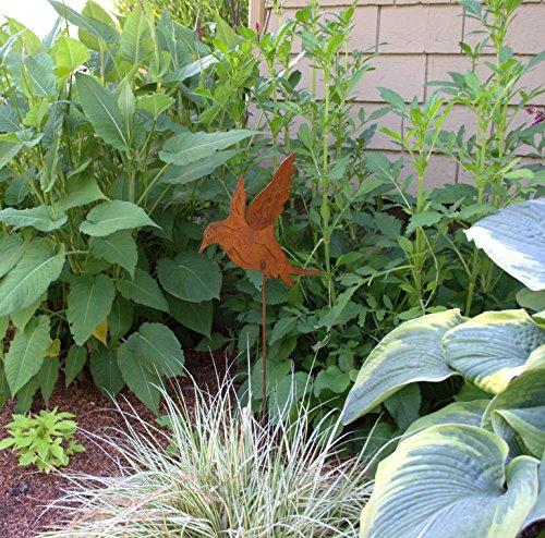 Landing Bird Garden Stake, Rust Patina Metal Yard and Garden Art, Decor