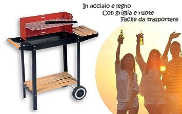 Barbacoa carbon portatil - de madera y acero 83x28x83cm - incluye mesa parrilla: Amazon.es: Jardín