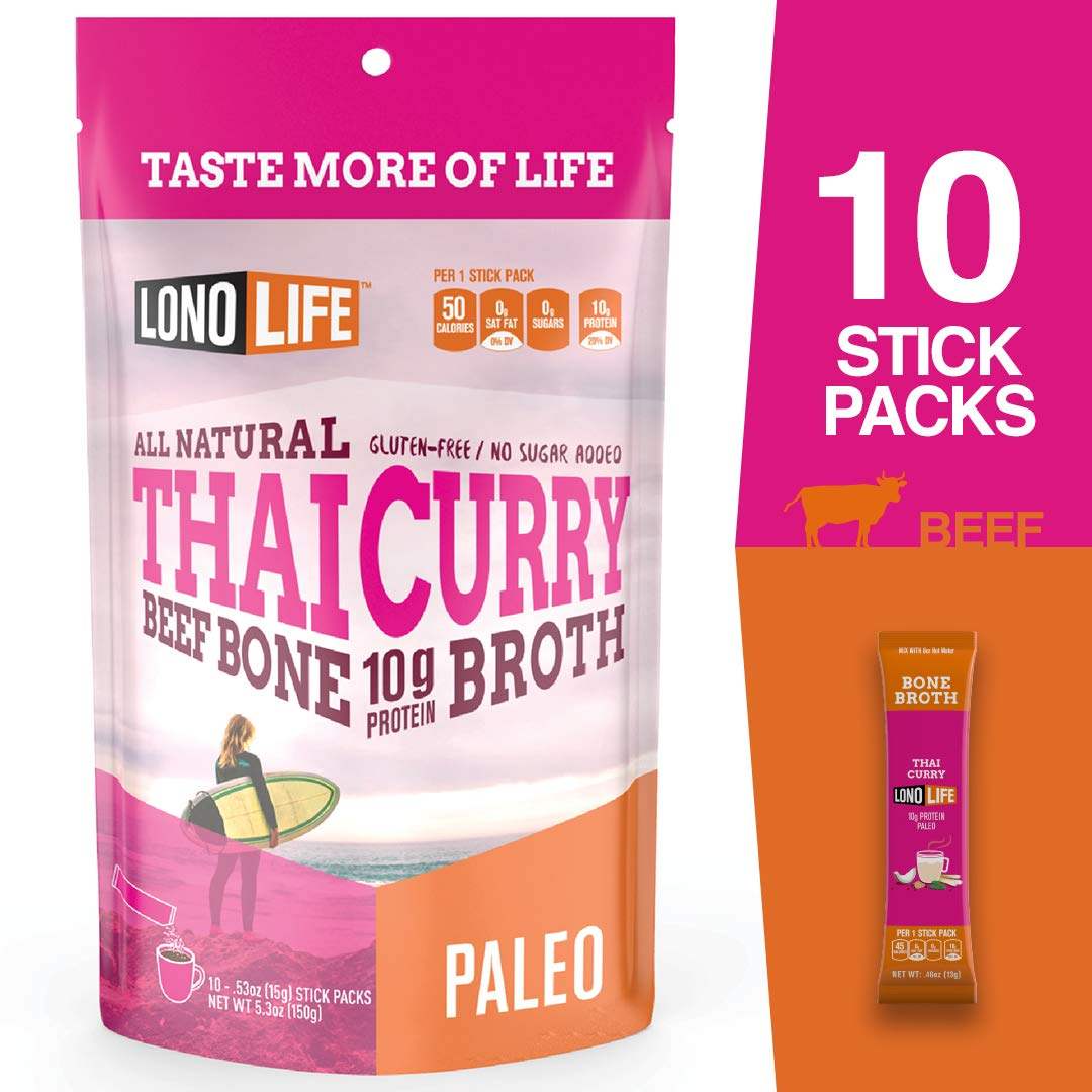 LonoLife Thai Curry Beef Bone Broth Powder with 10g Protein, Stick Packs, 10 Count by LonoLife