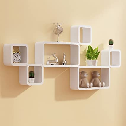 Interiors by designs wall shelf set of six cube rectangle designer wall rack shelves white