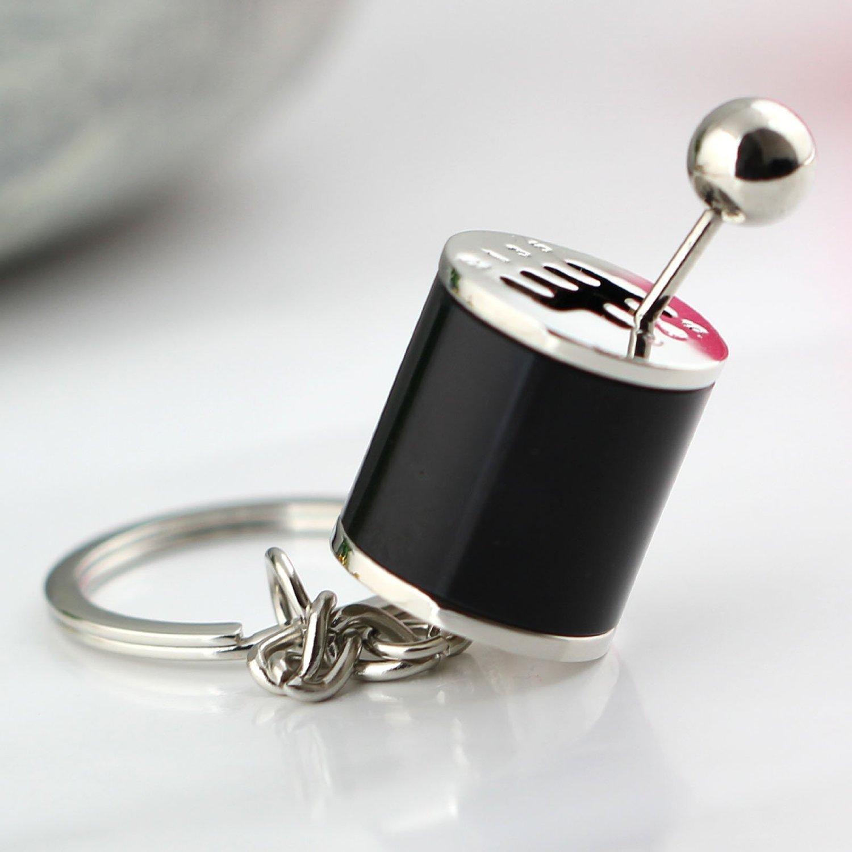 anello portachiavi di colore nero Portachiavi creativo per auto a forma di cambio manuale a 6 marce porta chiave elettronica