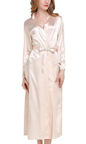 Sihuan Camisón Pijama Camisón Bata de Mujeres Chicas Kimono de Satén para Noche Ultra Suave Cómodo Encaje - Color Beige: Amazon.es: Ropa y accesorios