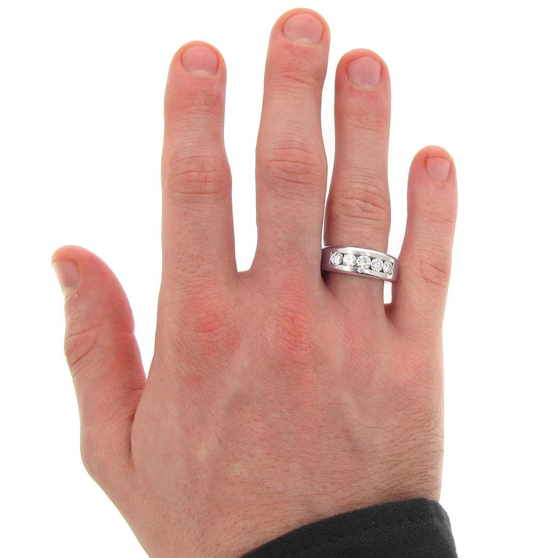 1.00 CT TW 5-Stone Channel Set Diamond Mens Wedding Ring in Platinum ...