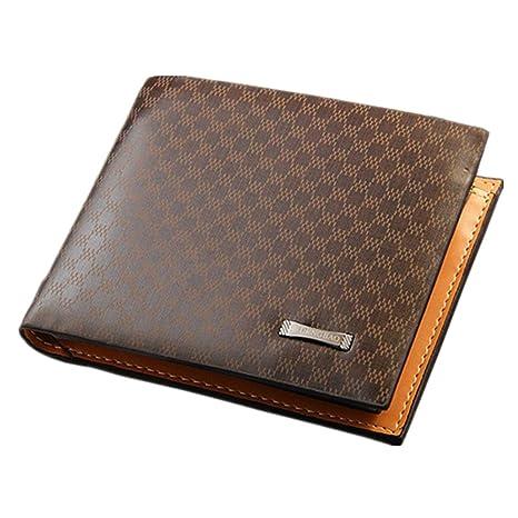 Tmalltide Durable cómodo de piel Para Hombre Extra Grande Capacidad ligero y tamaño de bolsillo Bifold