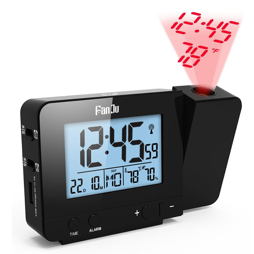 FanJu Projection Clock, Dimmable LCD Display, Screen Digital Alarm Clock, Dual Alarm with USB Charging Port, 12/24 Hours, Indoor Temperature/Day/Date Display with Dimming