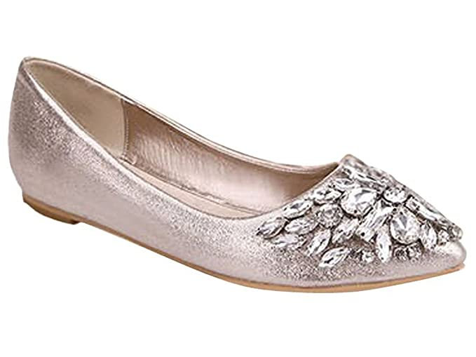 Minetom Damen Mädchen Mode Schuhe Spitze Schuhe Flache Ferse Bling Kristall Ballett Prinzessin Schuhe
