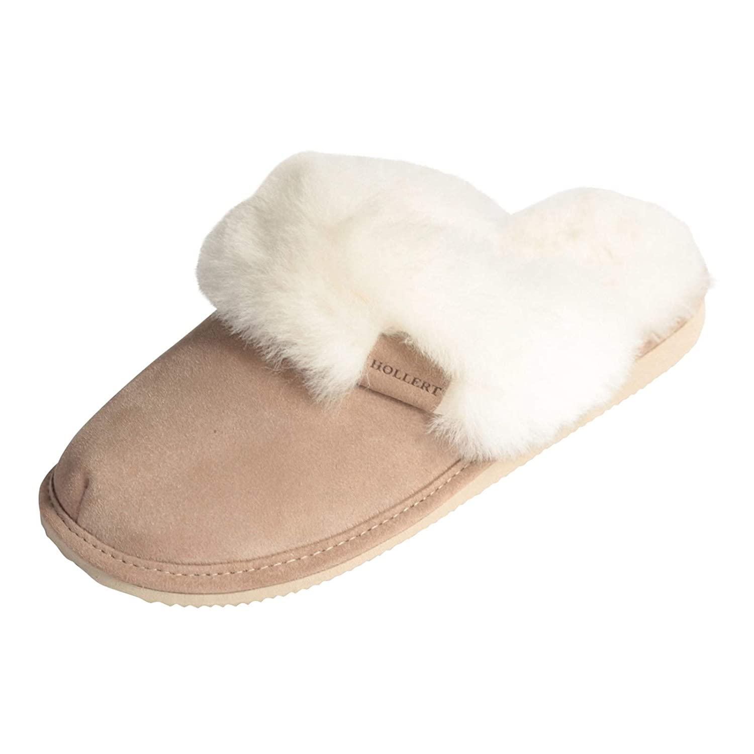88ad0021a Amazon.com | Hollert Sheepskin Slippers Malibu Ladies Shoes (5 US, Beige/White)  | Slippers