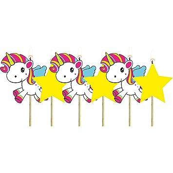 NET TOYS 6 Velas para Tarta Unicornio | Aprox. 6 cm de ...