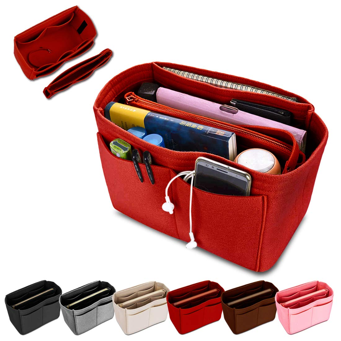 KINGDOO Felt Purse Organizer Insert Bag Organizer Handbag Tote Bag in Bag Fits for Speedy, Neverfull, Longchamp (M, Red) by KINGDOO