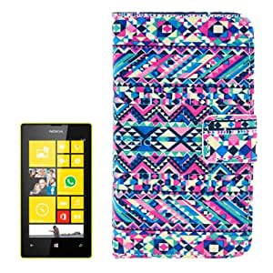 Ethnic Style Pattern Case Funda con Tapa Cover Card Holder Slots & Para Nokia Lumia 520
