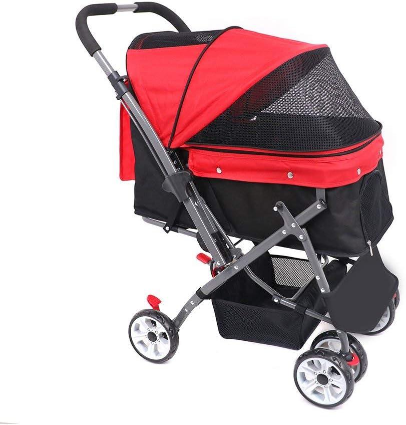 ペットベビーカー軽量折りたたみペットベビーカー四輪アウトドア旅行用品犬猫ベビーカー-red