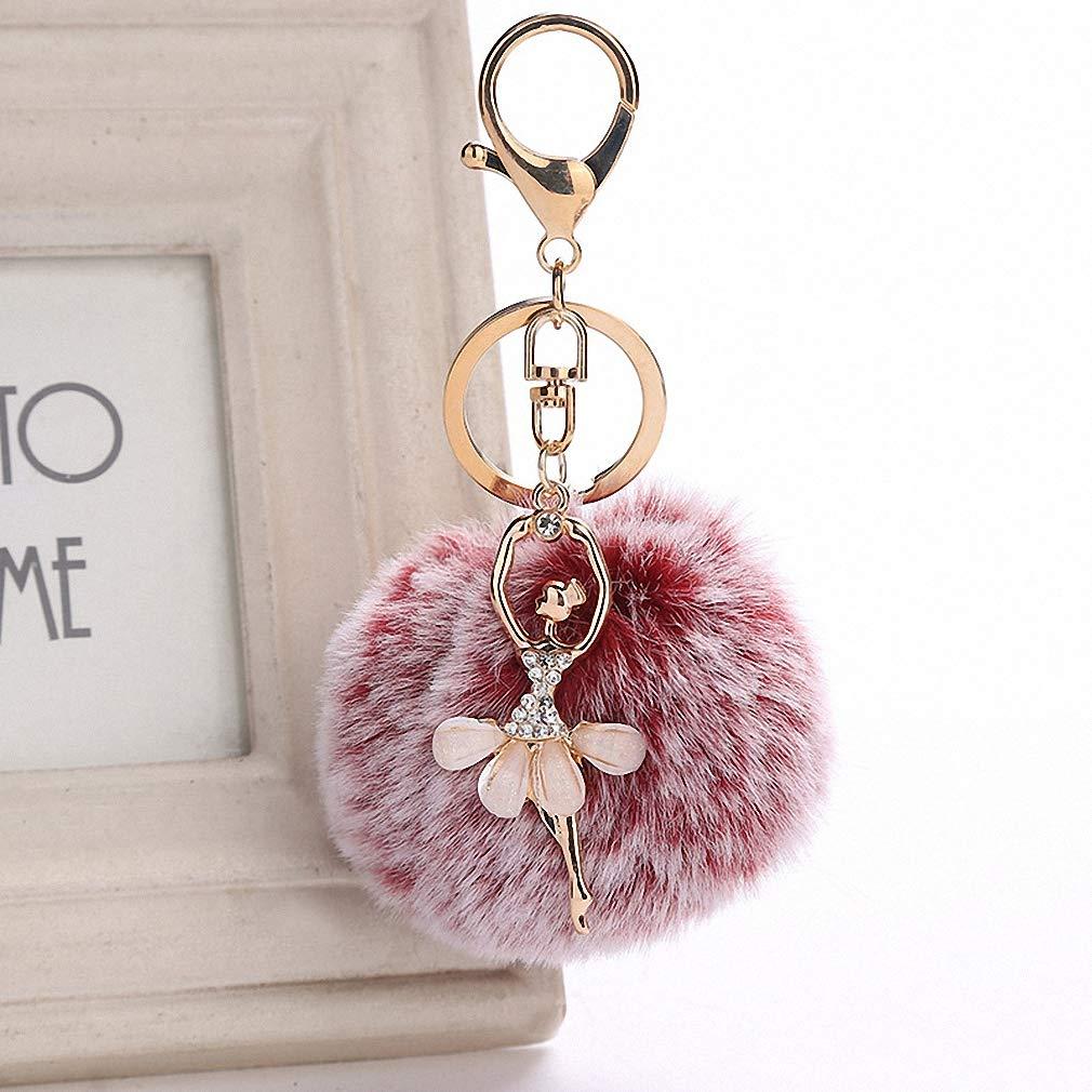 Gold Key Chain Pom Pom Key Rings Fake Rabbit Fur Ball ...