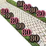 Big Dot of Happiness Chic 80th Birthday - Pink, Black and Gold Lawn Decorations - Outdoor Birthday Party Yard Decorations - 10 Piece