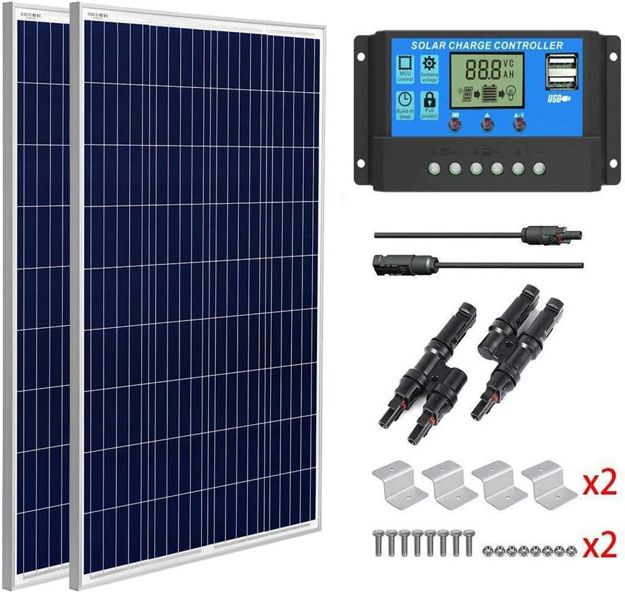 SUNGOLDPOWER 200 Watt 12V Polycrystalline Solar Panel Solar Module:2pcs 100W Polycrystalline Solar Panel Solar Cell Grade A +20A LCD PWM Charge Controller Solar+MC4 Extension Cables+Z-Brackets