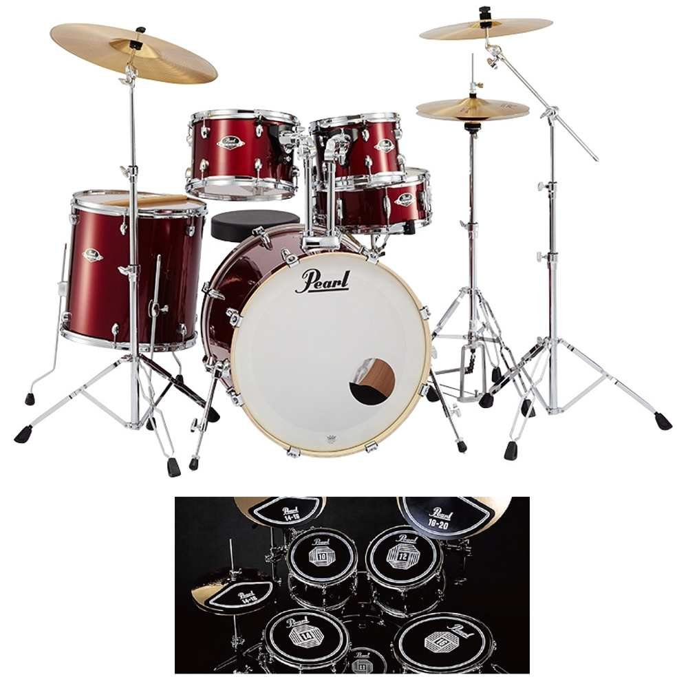 【消音ラバーパッド付】Pearl パール EXX725S/C No.91/レッドワイン EXX Covering シンバル付ドラムフルセット   B07589YW53