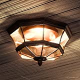 Luxury Colonial Outdoor Ceiling Light, Medium Size: 8''H x 15.25''W, with Tudor Style Elements, Versatile Design, High-End Black Silk Finish and Beveled Glass, UQL1153 by Urban Ambiance