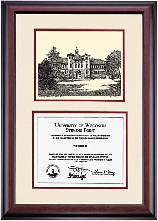 Amazon Com Ocm Diploma Frames University Of Wisconsin Stevens Point Pointer Displays Diploma Certificate 8 X 10 Marroon Mat Home Office Office Professional Education Framed Diploma Wall Decor