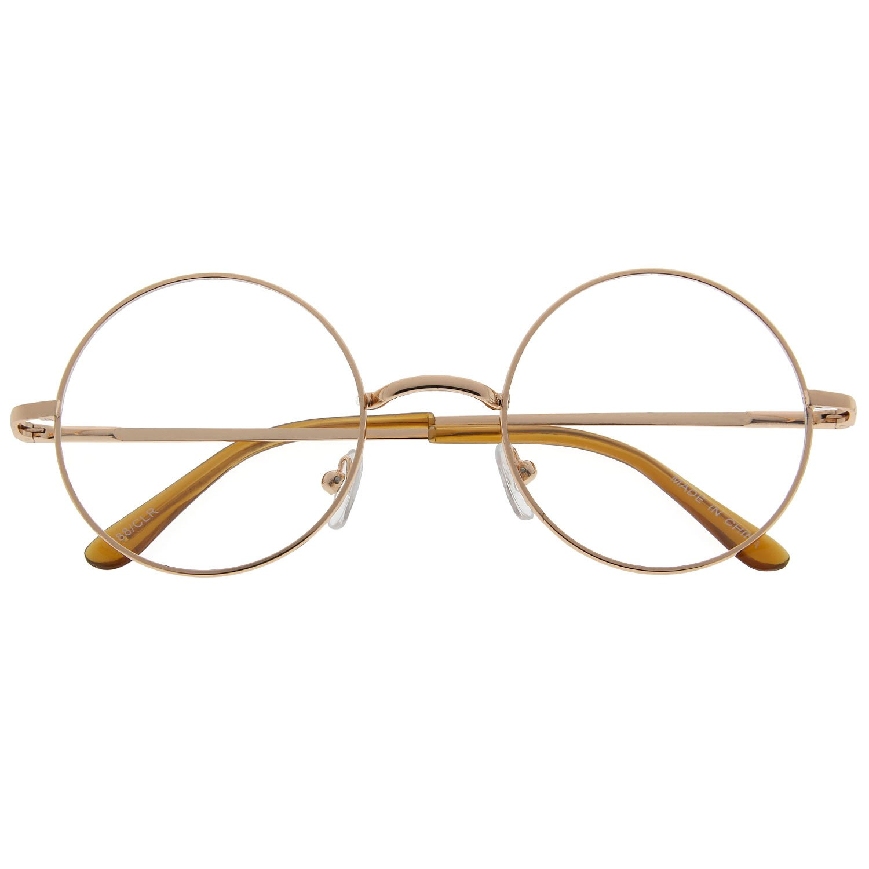 Amazon.com: John Lennon Inspired Round Clear Lens Glasses Hippy Sunglasses  Vintage Gold: Clothing