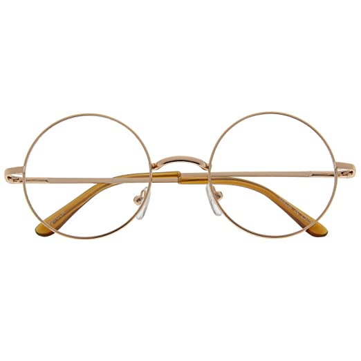 0628c9b89 Image Unavailable. Image not available for. Color: John Lennon Inspired Round  Clear Lens Glasses Hippy Sunglasses Vintage Gold