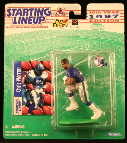 CHRIS WARREN / SEATTLE SEAHAWKS 1997 NFL Starting Lineup Action Figure & Exclusive NFL Collector Trading Card for $<!--$12.22-->