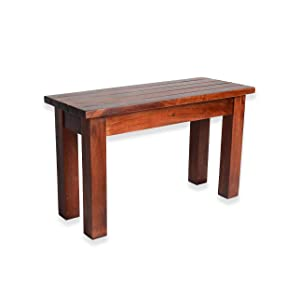ROMANCHY Lilly Solid Rosewood 2 Seater Hallway Stripped Design Seating Bench in Honey Finish