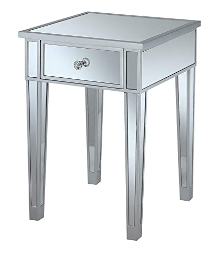 Convenience Concepts Gold Coast Mirrored End Table with Drawer, Silver Mirror