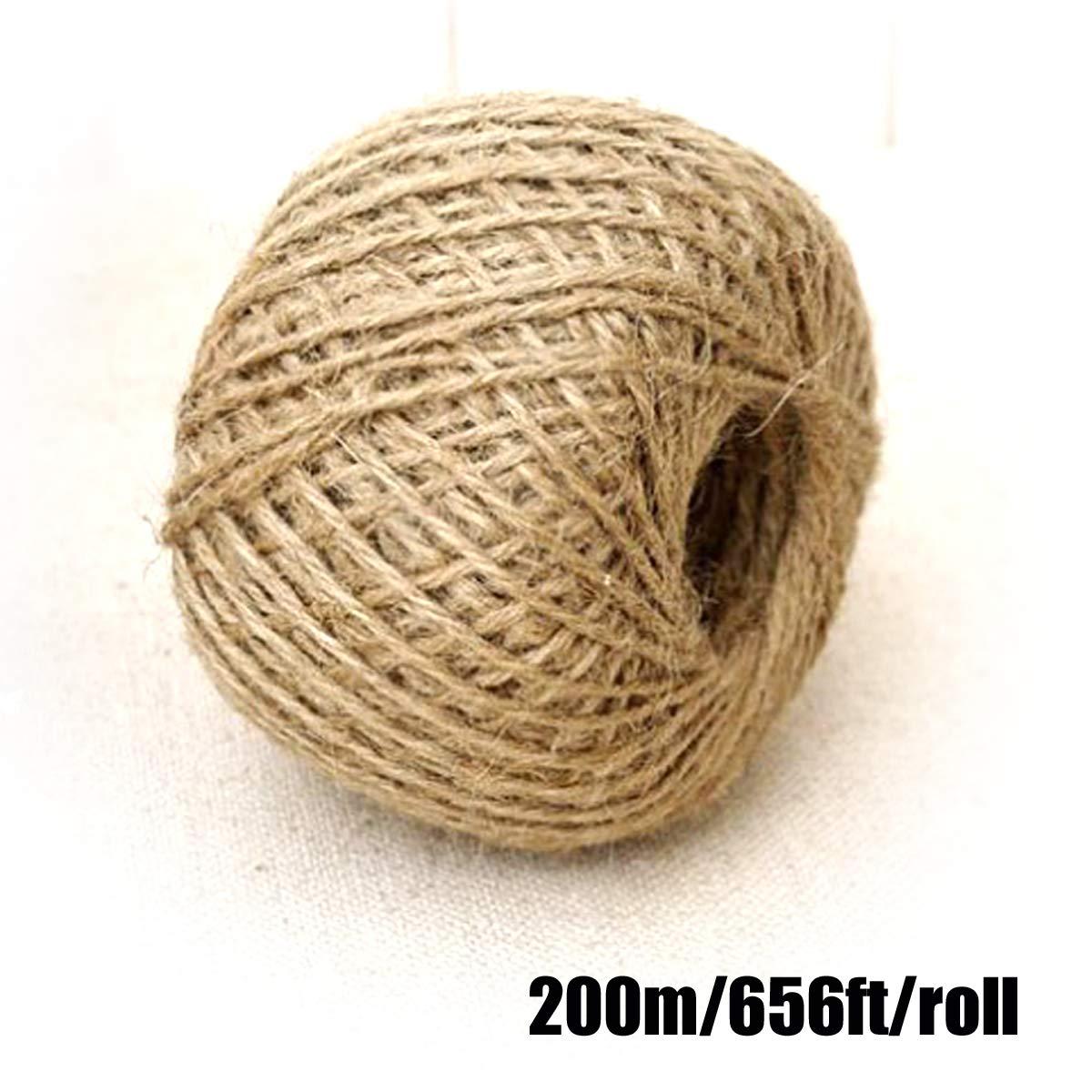 Cuerda de Yute Natural,Cuerda de c/á/ñamo Cordel de Cuerda para decoraci/ón y Bricolaje Artesanal Cordel Cuerda Yute Manualidades,Cadena Gruesa Fuerte Decoraci/ón 200m YuChiSX Cuerda de Yute