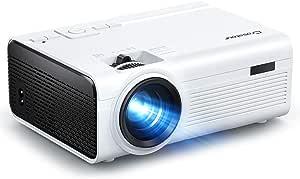 Crosstour Proyector, Mini Proyector Portátil Soporte HD, Cine en Casa con Control Remoto, 55000 Horas Vida, Altavoces Duales Compatible con HDMI USB SD Chromecast PS4 (Cable HDMI/AV Incluido)