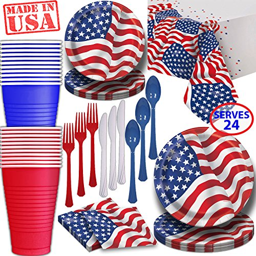 American Flag Paper Dinnerware for 24-2 Size Plates, Cups, Napkins, Cutlery (Spoons, Forks, Knives), and tablecovers - Full Patriotic Party Supply Pack -