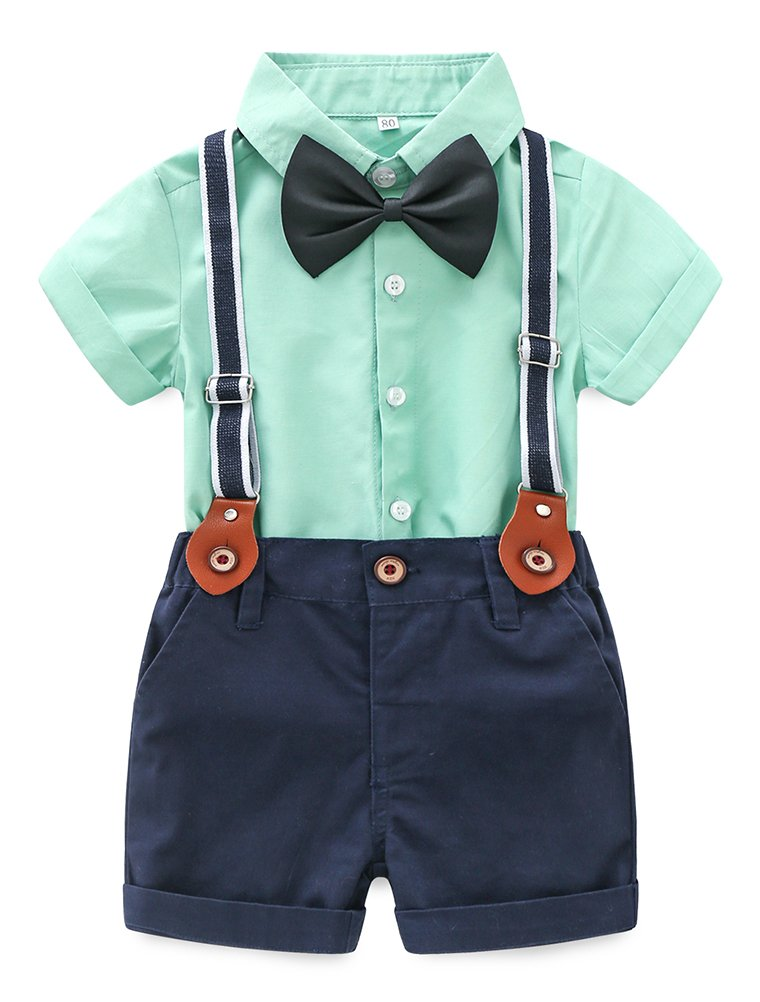 Baby Boy Summer Cotton Gentleman Short Sleeve Bowtie Romper Suspenders Shorts Outfit Set Style2 Green 80