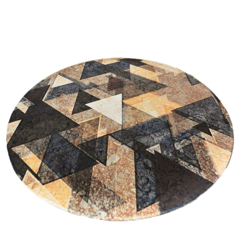 GSJJ Marrón Alfombra Redonda geométrico Diseño Lavable a ...