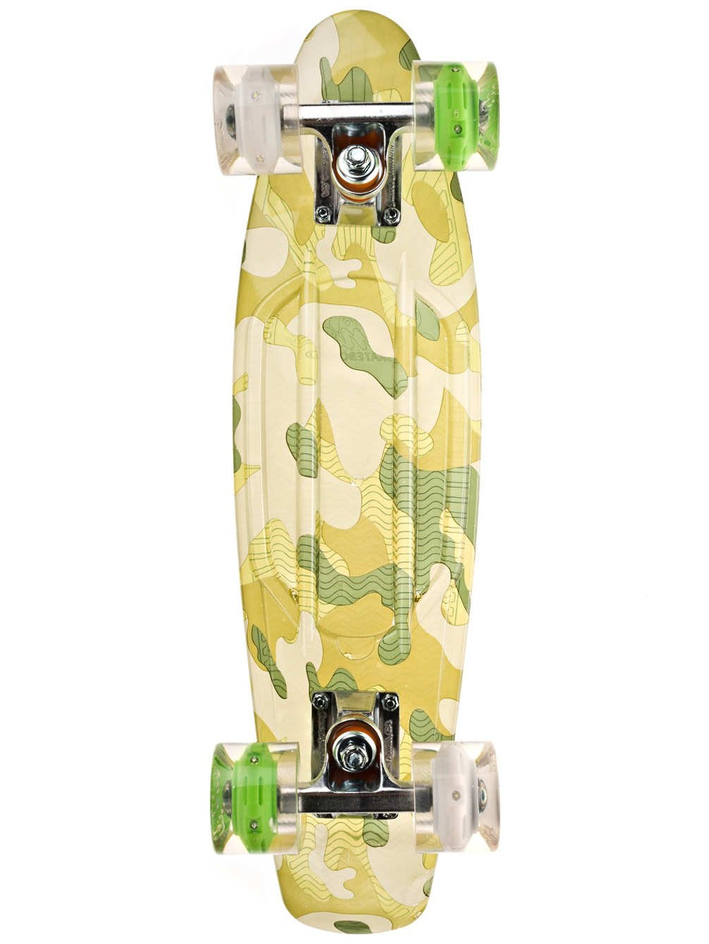 Sunset Skateboards Camo Complete Skateboard Deck with White/Green Wheels, 22-Inch, Green Camo by Sunset Skateboards