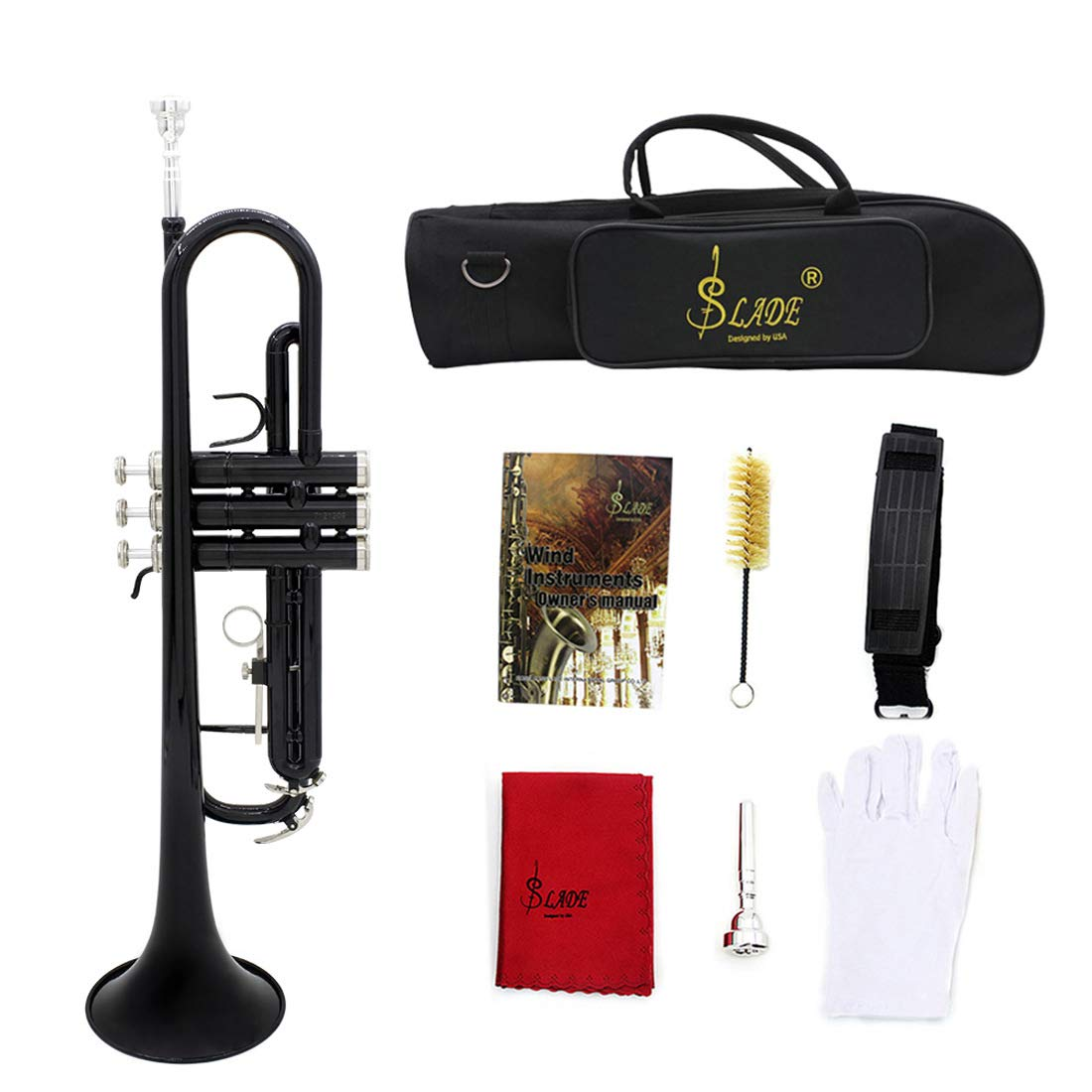 Brass Lacquered Bb Key Student Intermediate Trumpet with Full Accessories and Kit Standard Bb Trumpet Set for Student Beginner (Black)