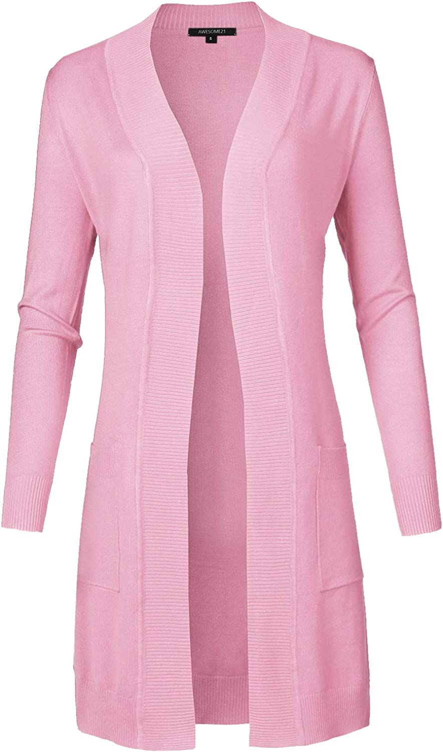 Women's Solid Soft Stretch Long Line Long Sleeve Open Front Knit Cardigan