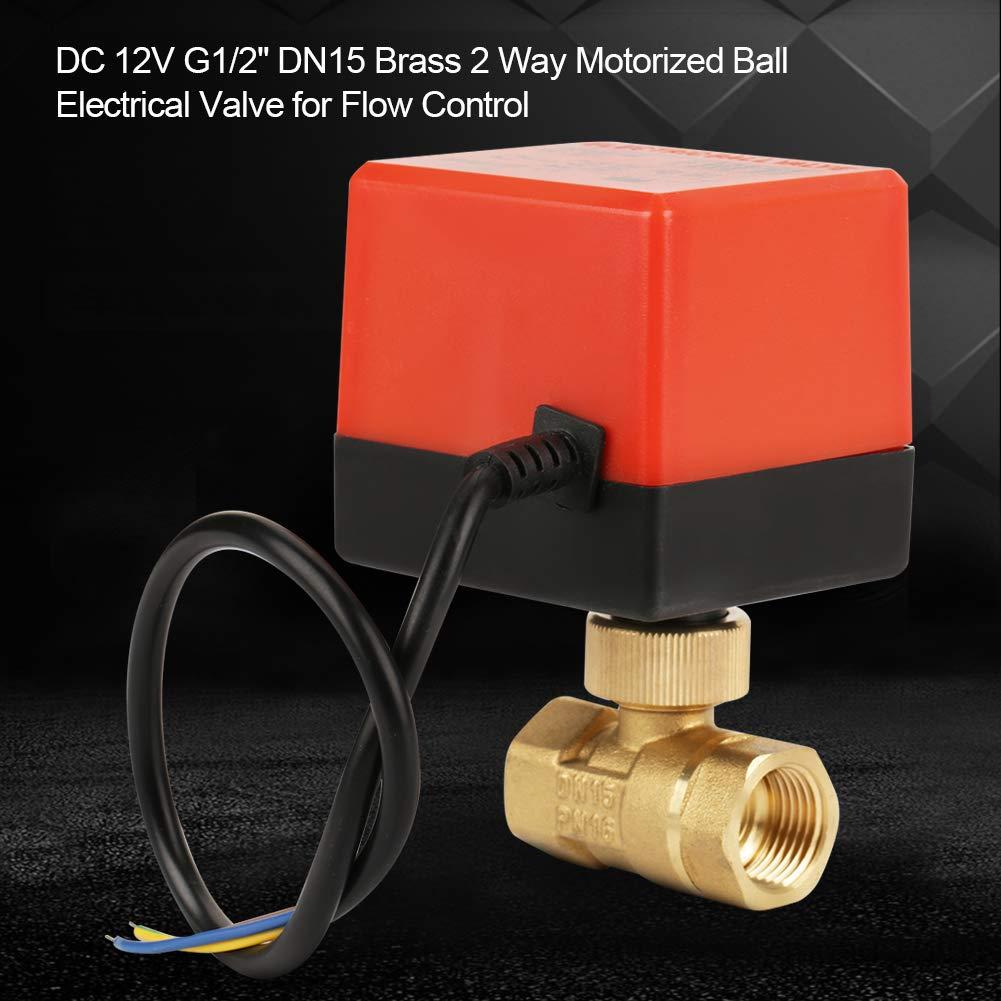 DC 12V G1//2DN15 V/álvula el/éctrica de bola motorizada de lat/ón de 2 v/ías para control de flujo V/álvula de bola de lat/ón
